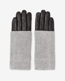 Fold Over Leather Gloves
