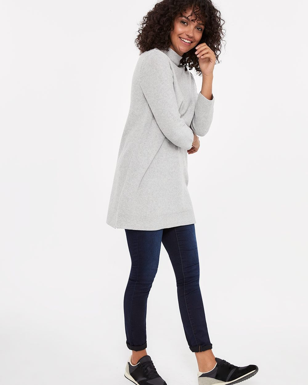 High-neck Long Sweater