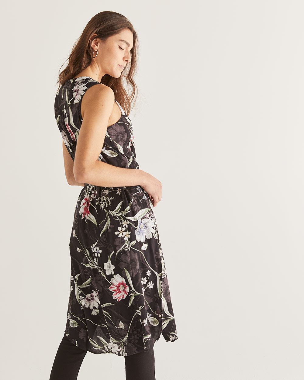 Sleeveless Printed Tunic with Sash