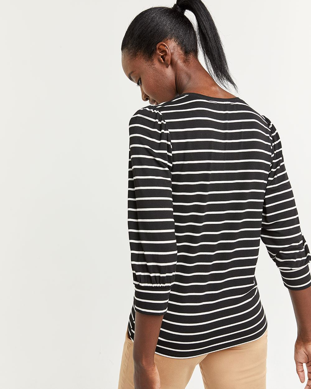 Striped Tee with Puffed Sleeves
