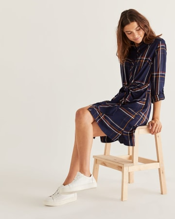 Plaid Shirt Dress with Front Tie