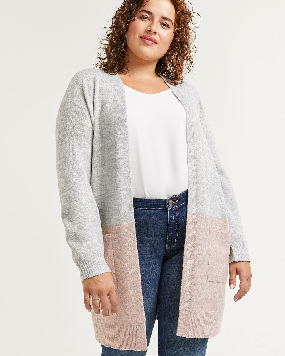 Long Balloon Sleeve Colorblock Cardigan with Pockets