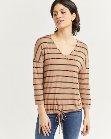 3/4 Sleeve Striped Tee with Drawstring