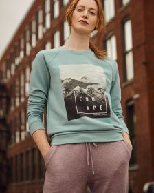 Long Raglan Sleeve Screen Print Sweatshirt Hyba