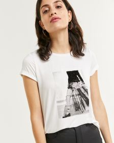Short Sleeve Embellished Screen Print Tee