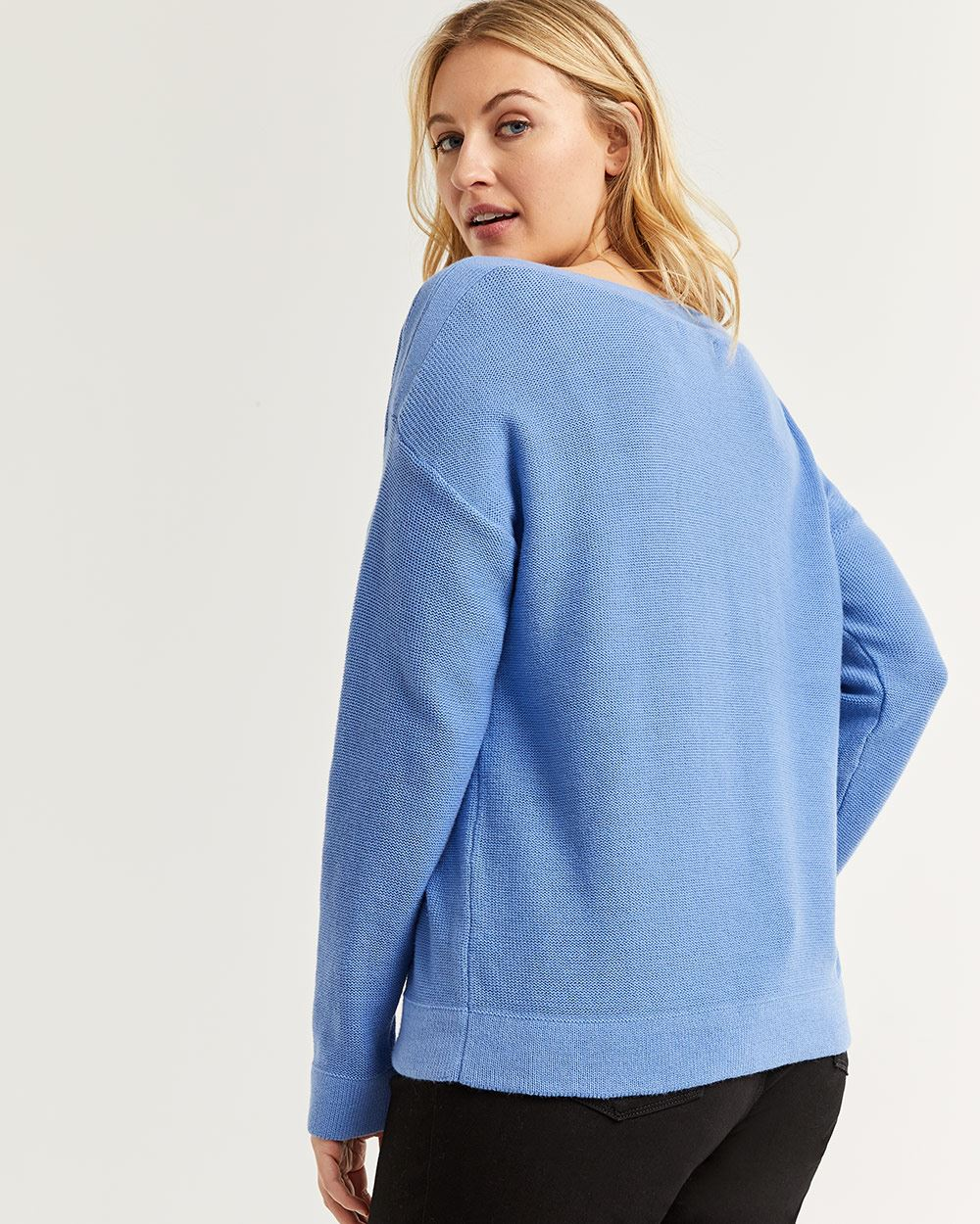 Cotton Sweater with Boat Neck