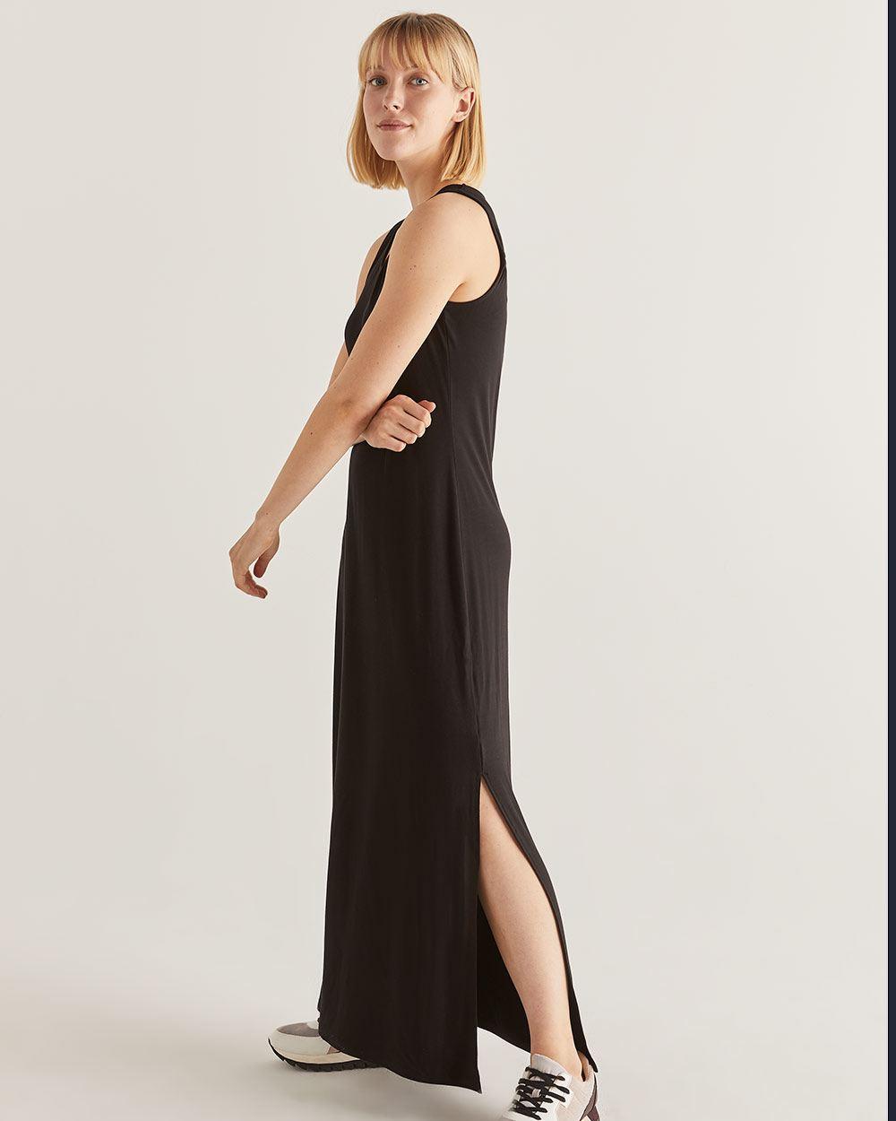 996a8822455 Robe maxi noire avec plis - Petite