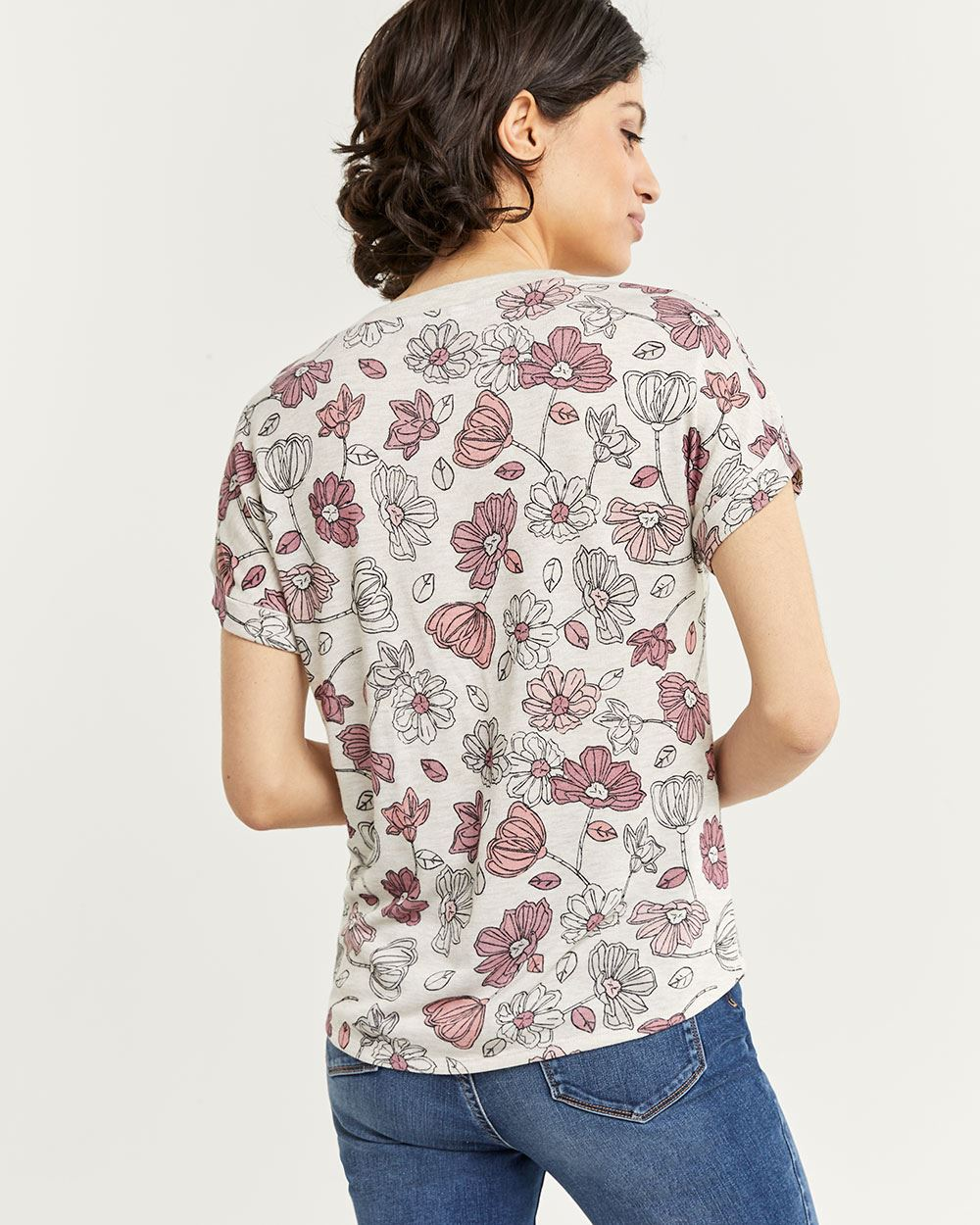 Short Sleeve Printed Tee with Decorative Buttons