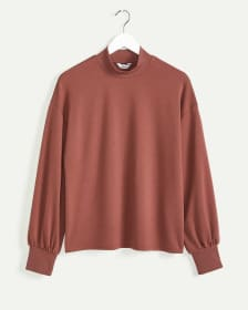 Long Sleeve Mock Neck Sweatshirt