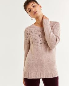 Long Sleeve Pointelle Stitches Sweater