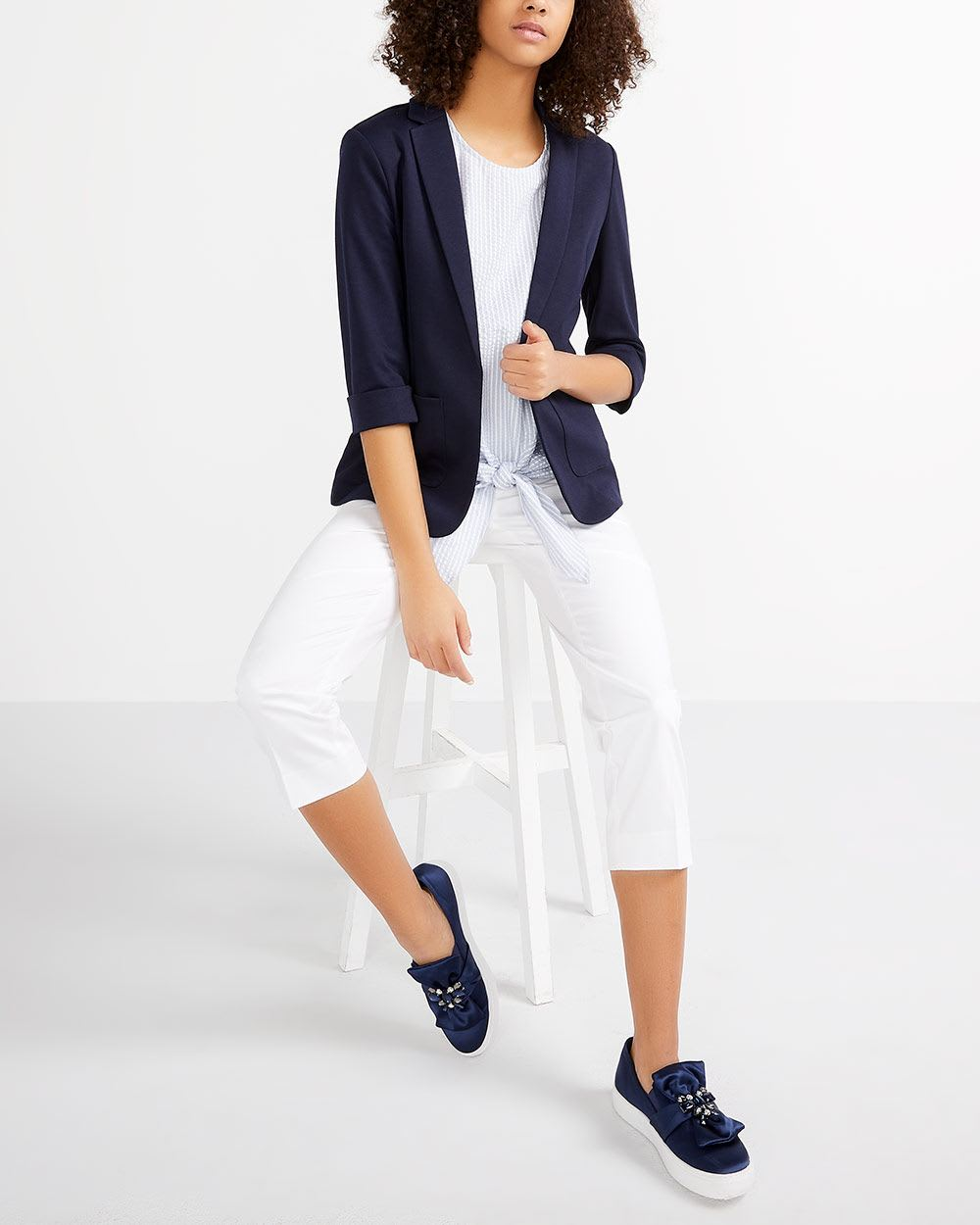 ¾ Sleeve Open Blazer