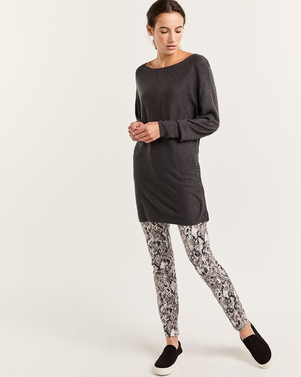 Boat Neck Tunic Sweater - Petite