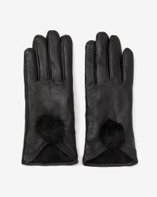 Fur Pompom Leather Gloves