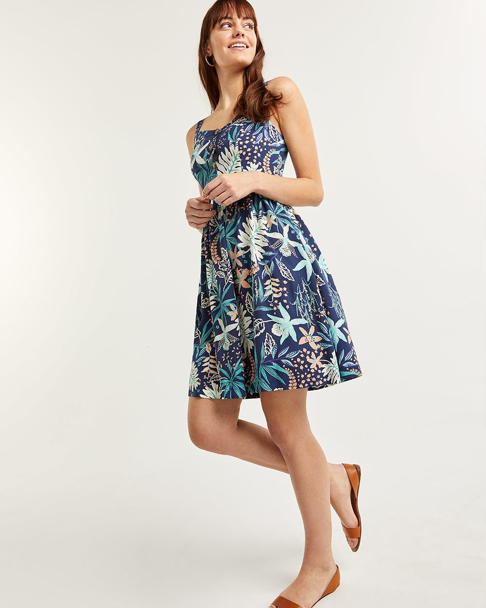 Printed Fit & Flare Dress with Smocking at Back