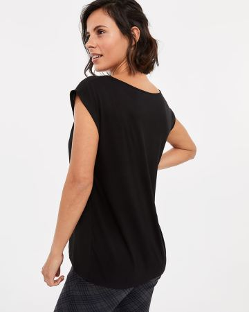 Drawstring V-neck Top with Eyelets