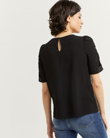 Ruched Short Sleeve Blouse