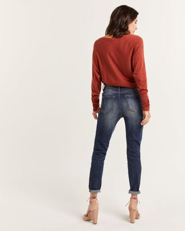 High Rise Skinny Jeans with Rips