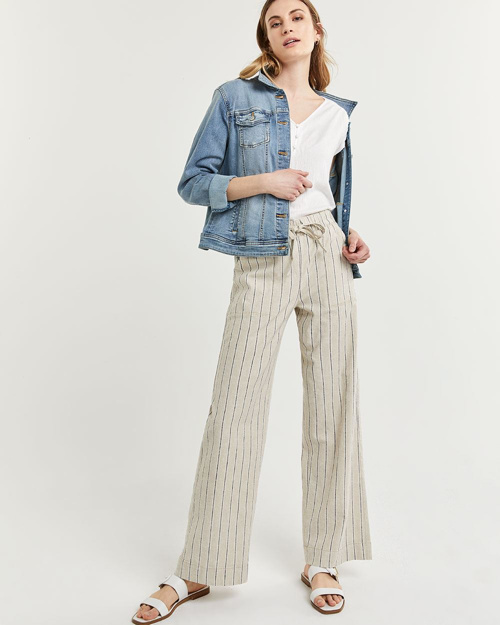Linen-Blend Wide Leg Striped Pants with Drawstring
