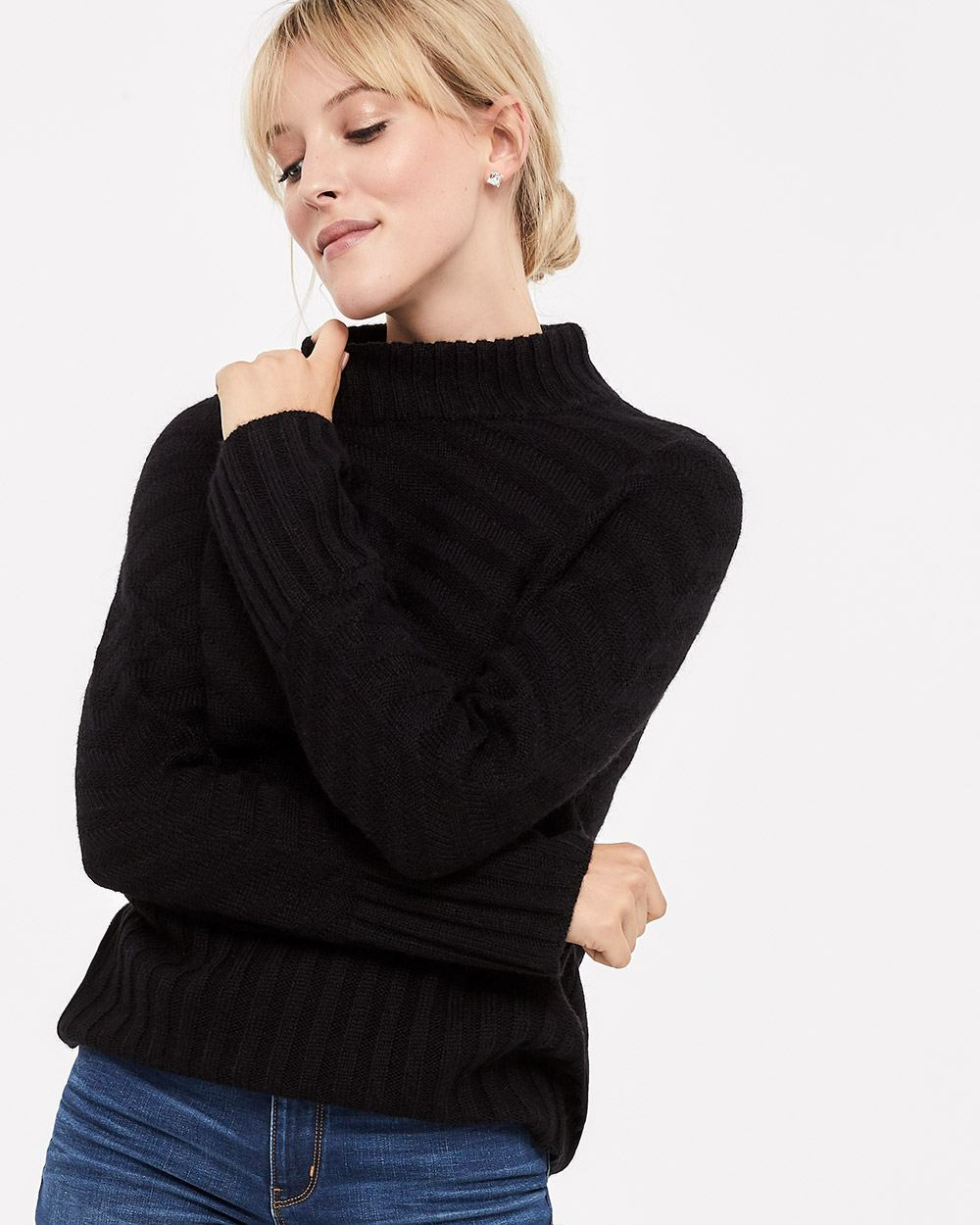 Pagode Sleeve Mock Neck Sweater
