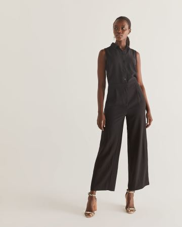 Wide Leg Sleeveless Black Jumpsuit