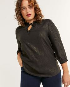 3/4 Sleeve Crinkle Blouse with Ruffles