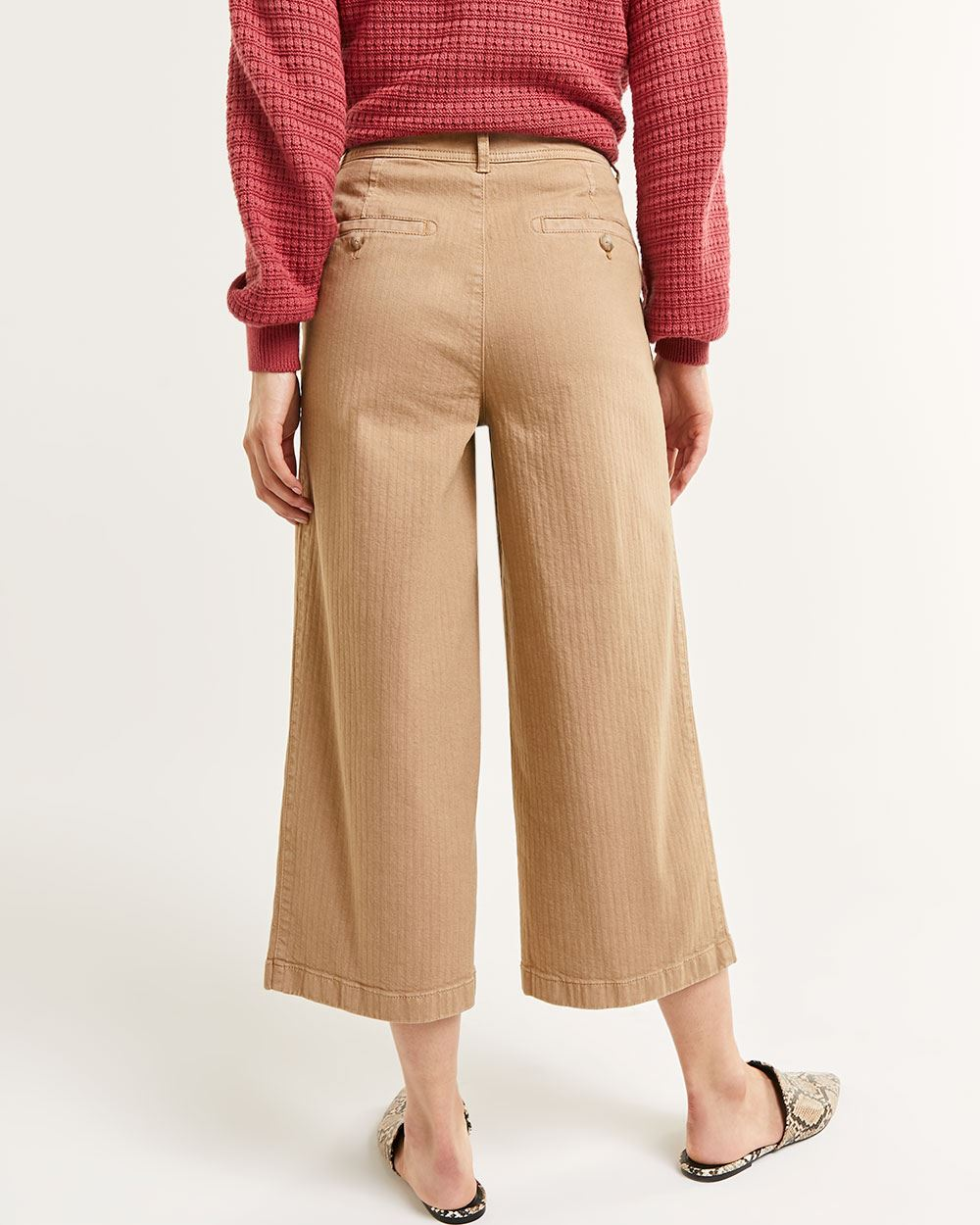 High Rise Wide Leg Cropped Pants - Petite