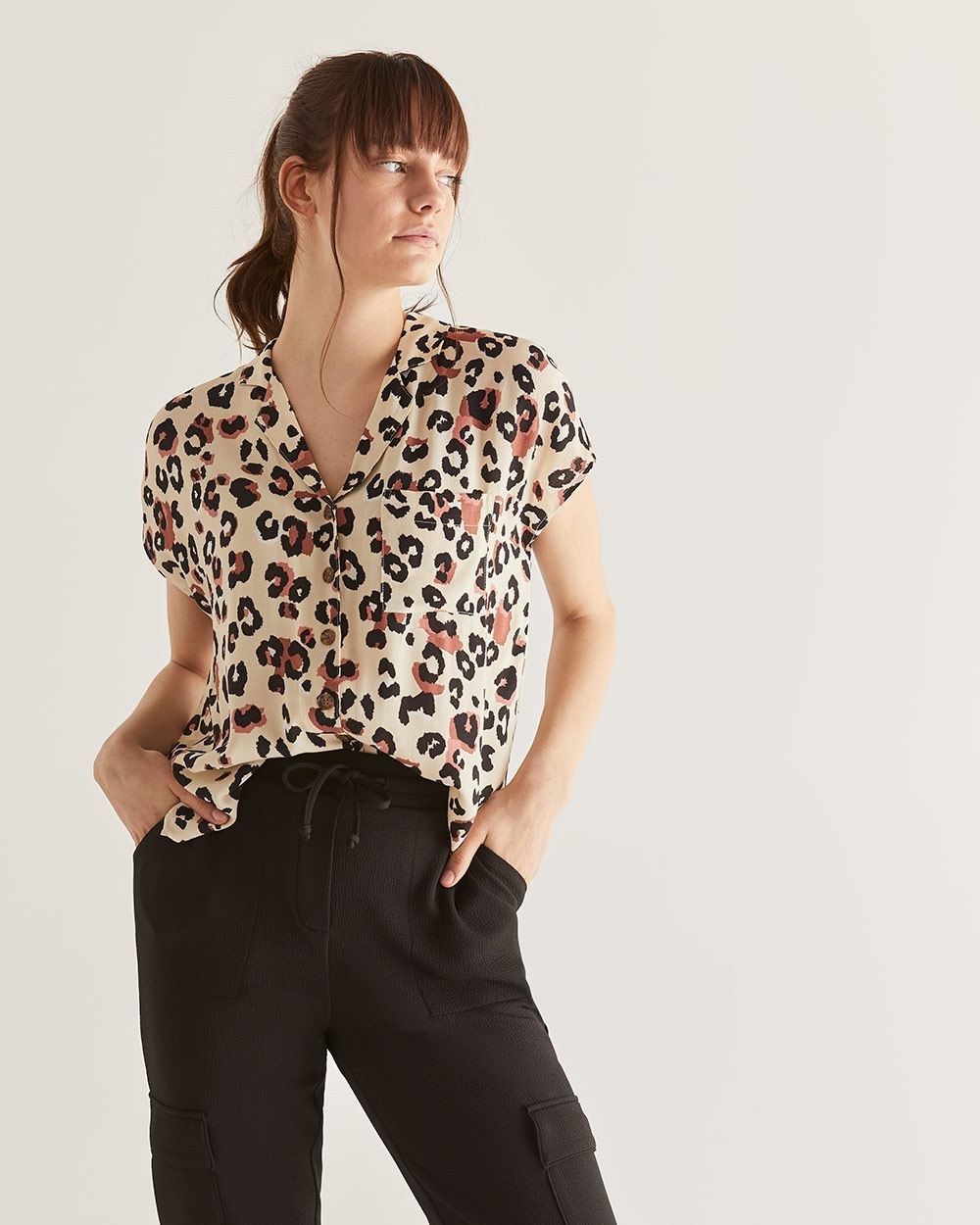 Printed Notch Collar Blouse