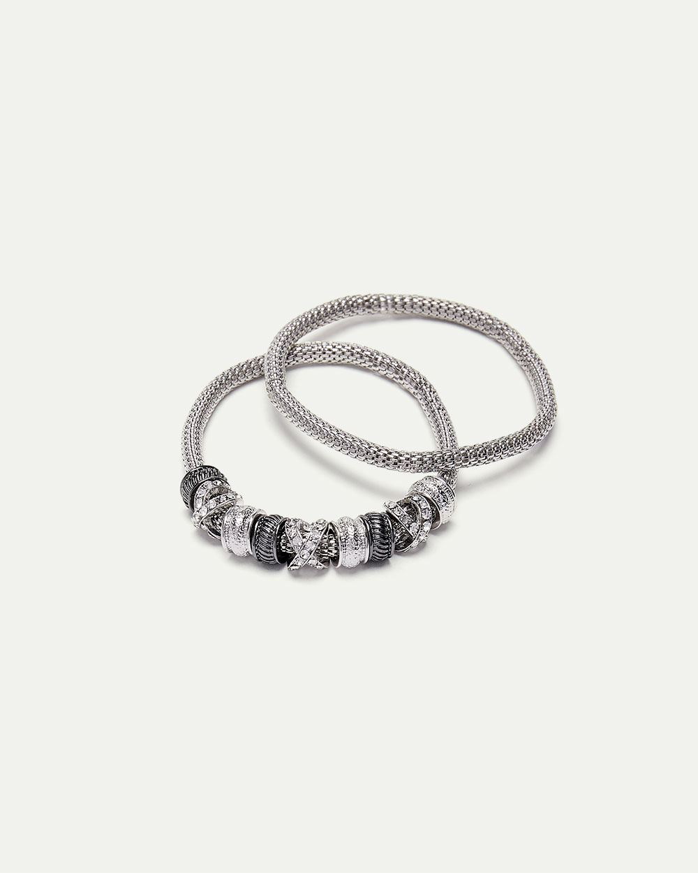 2-Piece Metal & Glass Stone Bracelet