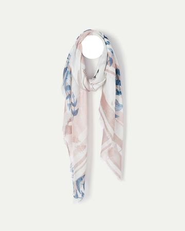 Leaf and Stripe Oblong Scarf