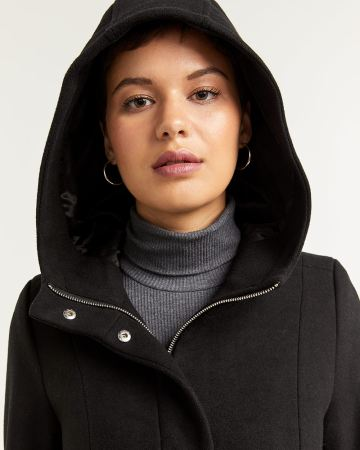 Hooded Wool-Blend Coat with Patch Pockets