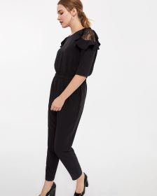 Cold-Shoulder Ruffle Jumpsuit