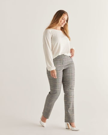 The Iconic Glen Plaid Straight Pull On Pants - Petite