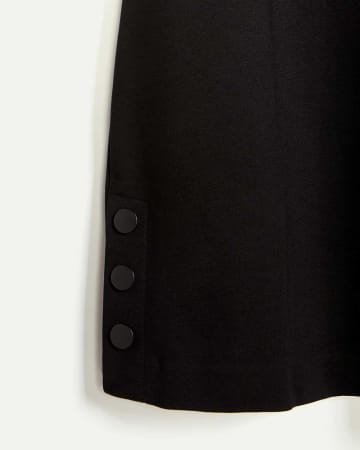 3/4 Sleeve A-Line Dress with Side Snap Buttons