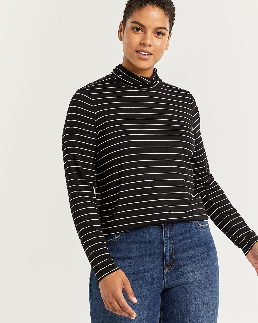 R Essentials Long Sleeve Turtleneck Striped Tee