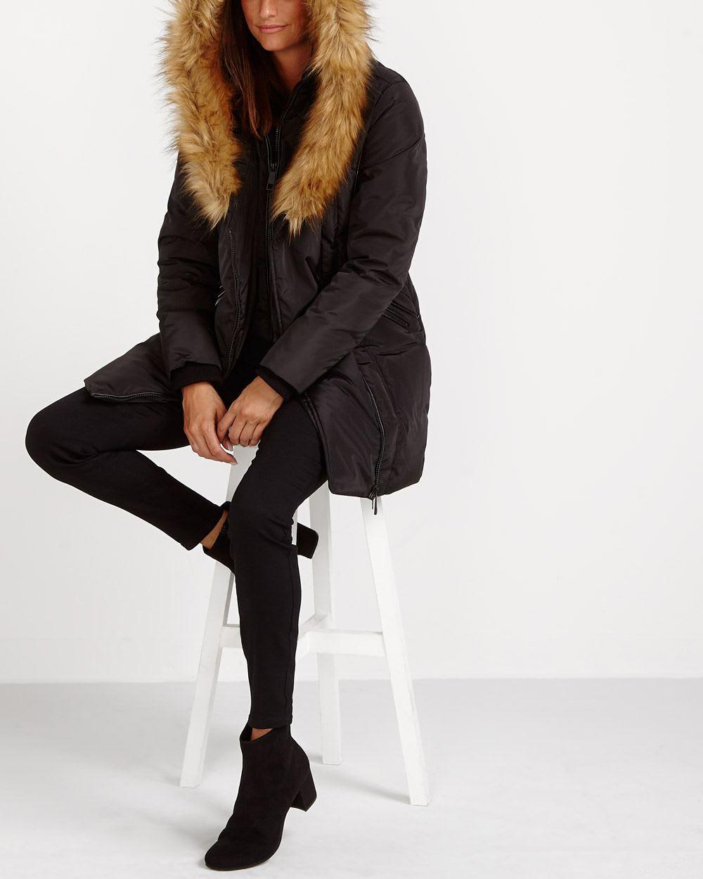 Faux Fur Collar Winter Coat Women Reitmans