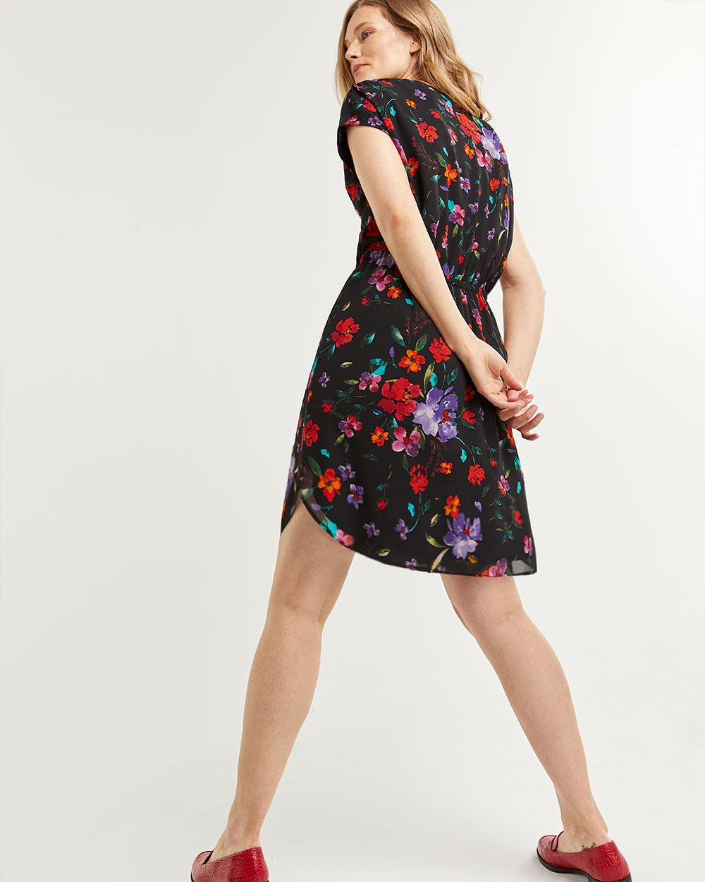 Floral Print Elastic Waist Dress with Front Keyhole