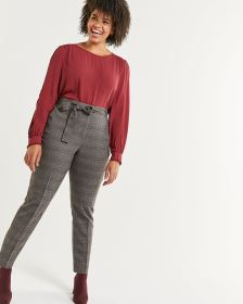 High Rise Tapered Plaid Pants with Removable Sash