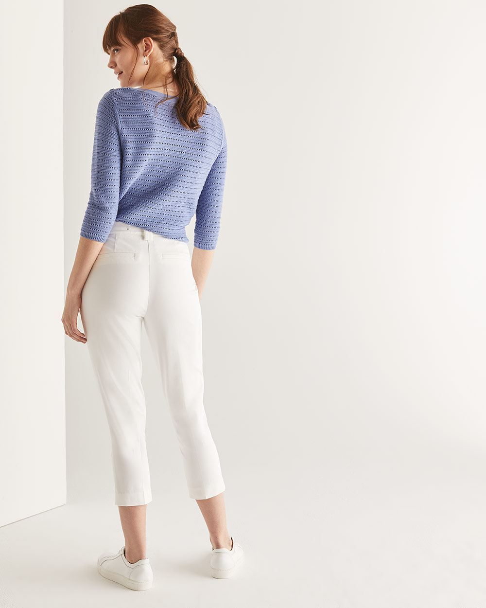 Cotton Slim Leg Cropped Pants