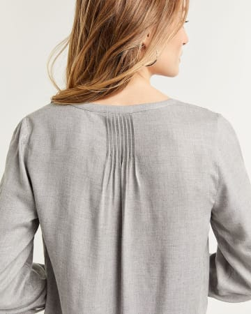 3/4 Sleeve Buttoned-Down Blouse with Pintucks