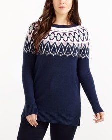 Jacquard Pattern Crew Neck Sweater