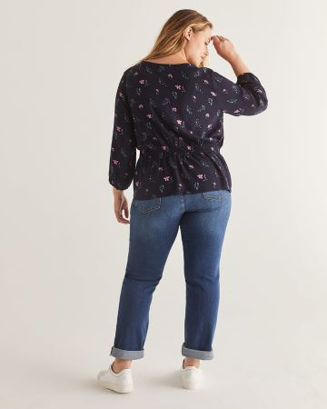 Buttoned-Down Printed Blouse with Smocked Waist - Petite
