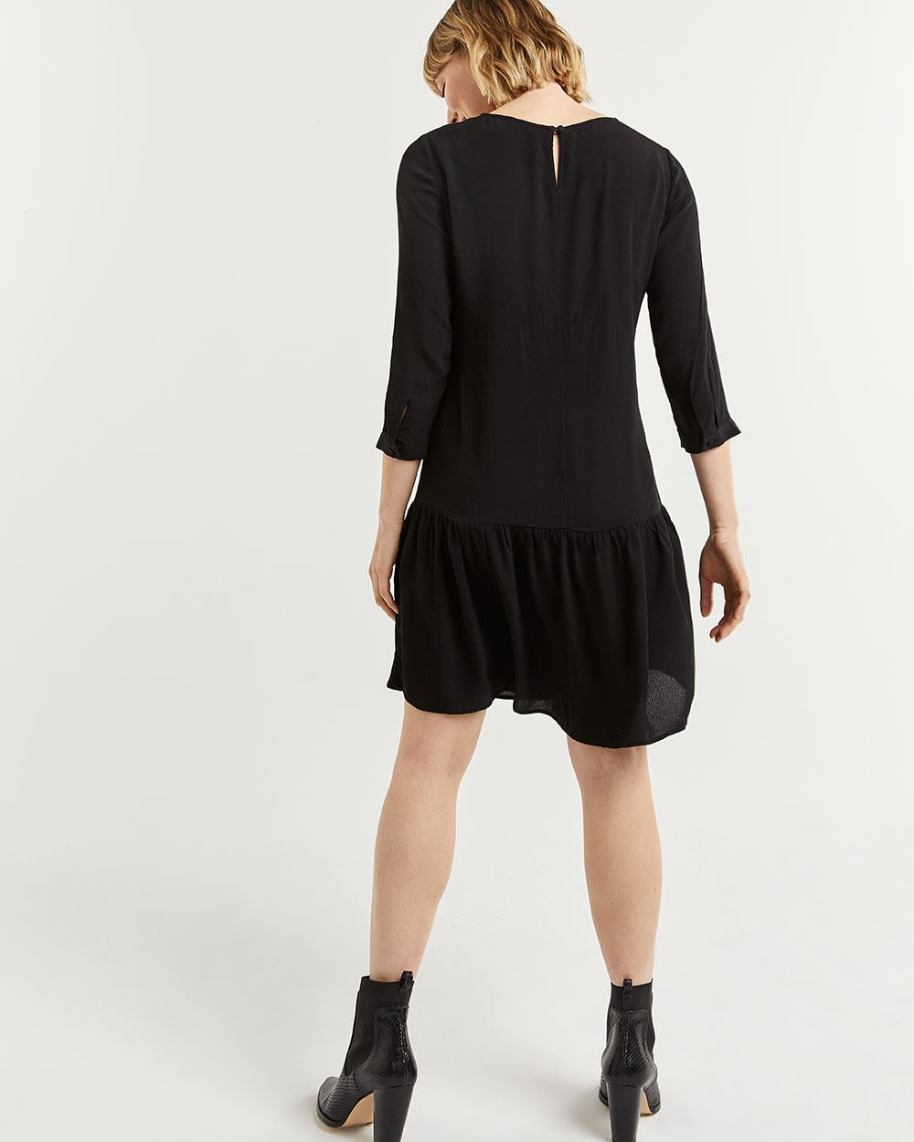 Shift Dress with Drop Flounce