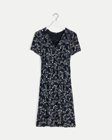 Faux Wrap Elastic Waist Printed Dress