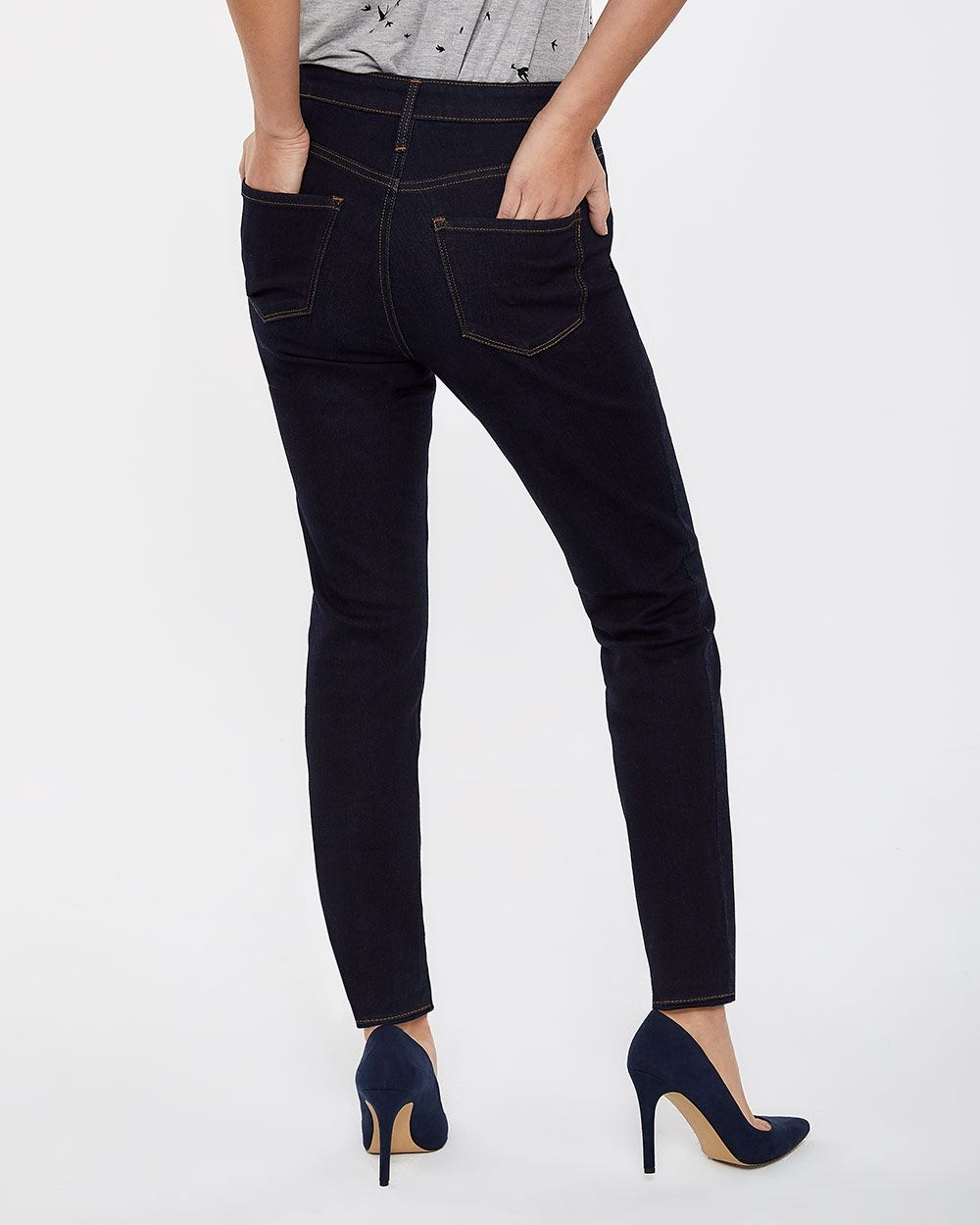 Petite High Rise Dark Wash Skinny Jeans