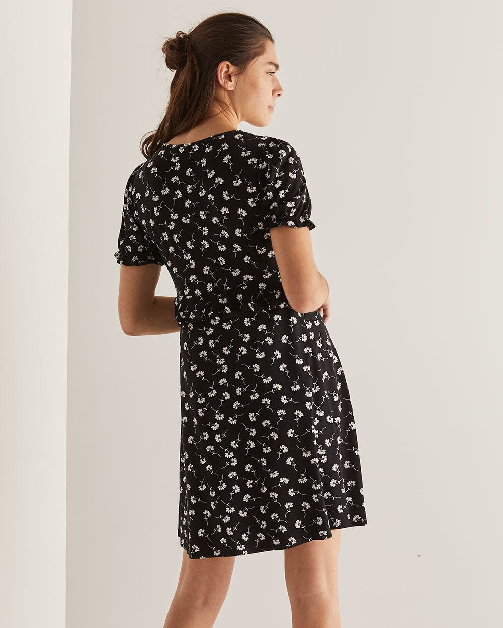 Floral Print Ruffle Swing Dress
