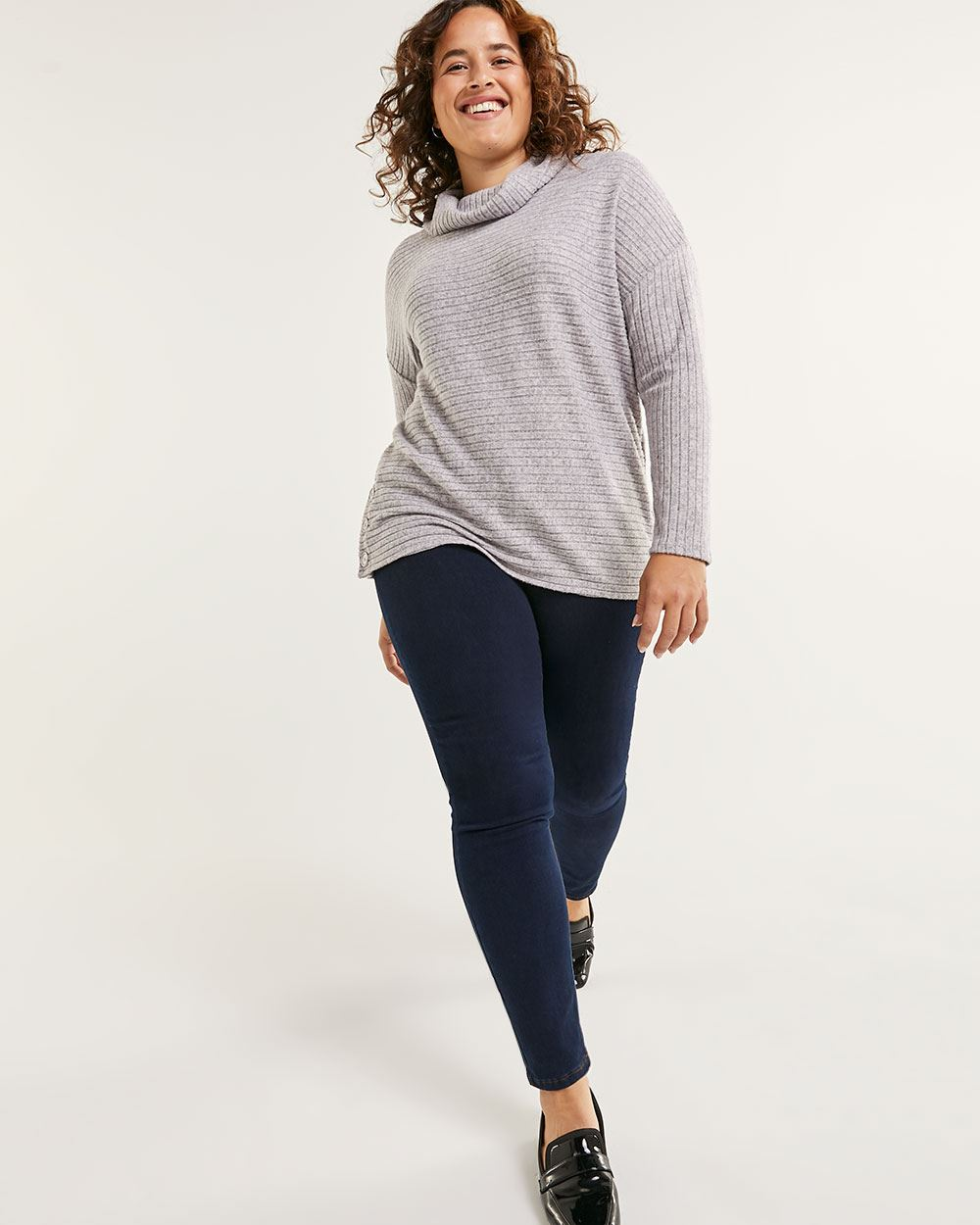 Long Sleeve Cowl Neck Striped Tee