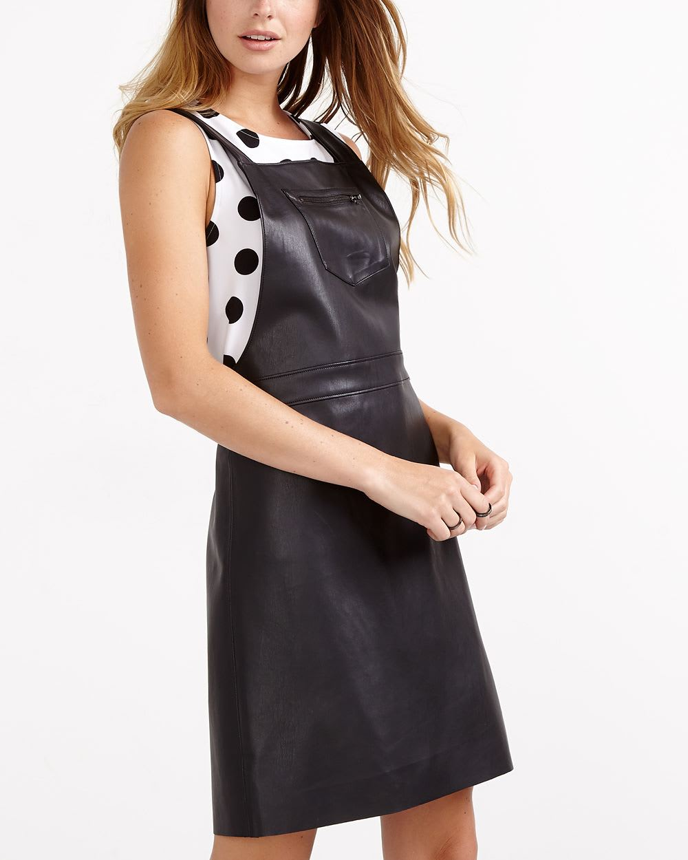 144d10250a Faux Leather Pinafore Dress
