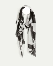 Black & White Print Oblong Scarf