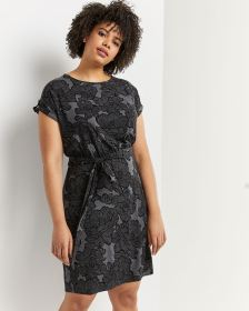 Short Sleeve Printed Shift Dress with Sash