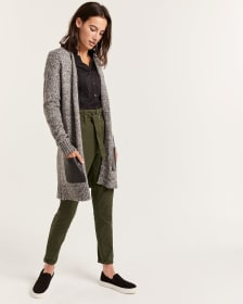 Long Open Cardigan with Faux Leather Pockets